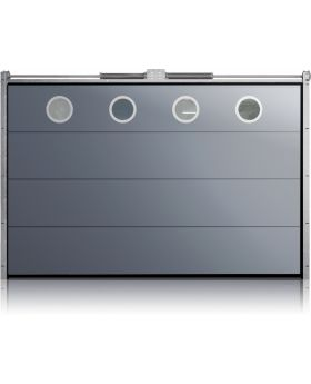 WIS 13 O1 -   stainless steel porthole frame garage door with no ribs